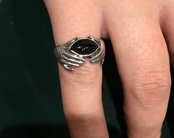 Sterling silver onyx ring size 7 1/4