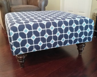 Upholstered Ottoman Coffee Table - Blue and White