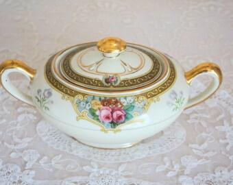 Vintage Diana China Germany ROSALIND Pattern Sugar Bowl