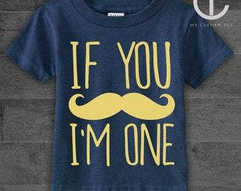 If You Mustache, I'm am One Funny - 1st First Birthday Toddler Infant Tee T-Shirt - Gold/Tan on Navy