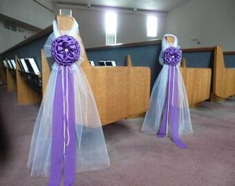 Purple Elegant Wedding Bows Pew Church Aisle Decorations