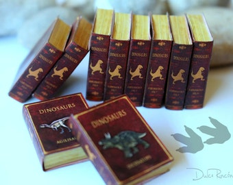 Dinosaur books in Miniature - Dollhouse books