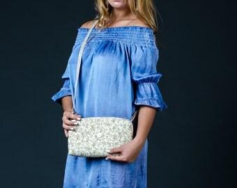 Free shipping Boho crossbody handbag Cotton and linen bag Embroidered handbag Beaded phone bag Flower design bag White cream beige boho bag