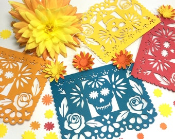 Day of the Dead Decorations, Mexican Dia de los Muertos Papel Picado Banner, Sugar Skull and Marigold Decorations