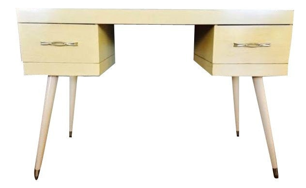 Vintage yellow mid century modern vanity entry table - Table haute console ...