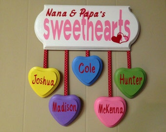 Valentine's Day gift,  Sweetheart,  Wooden Sign, Grandparent's gift, heart sign, wood love sign, personalized Valentine's Day decor, love