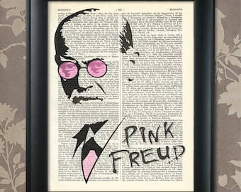 Pink Freud, Sigmund Freud, Sigmund Freud print, Freud Poster, Freud art, Freud wall art, Freud Dictionary Art, Pink Floyd, Dr Freud Print