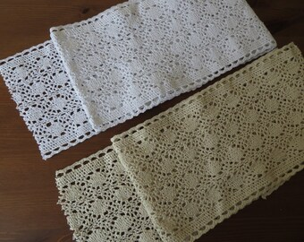 "1m Vintage style 14cm (6"") wide Cotton crochet lace edge trim, white or cream"