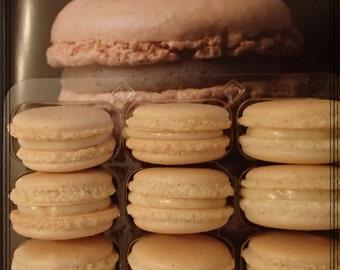 Vanilla Macarons Macaroons Almond  Vanilla Macarons with ganache Wedding Bridal Birthday 12 pc