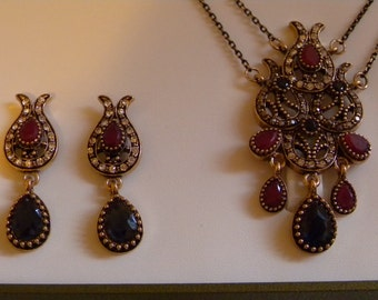 Vintage Ottoman style Antique Gold Faux Ruby and Sapphire Necklace Earrings set