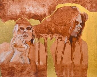 Figure Goddess women surrealism magic Gold Acrylic Painting