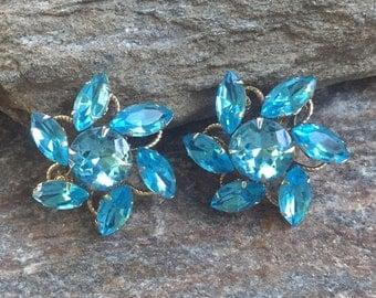 Blue Rhinestone Earrings Large Blue Clip On Rhinestone FLower Earrings Something Blue Rhinestone Wedding Accessory Blue Rhinestone Jewelry