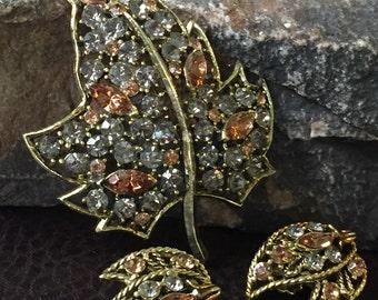Rhinestone Leaf Brooch and Earring Set, Demi Parure, Statement Jewelry