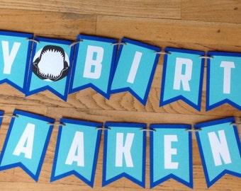 Shark Boys Birthday Party, Custom Happy Birthday Banner, Blue & Turquoise