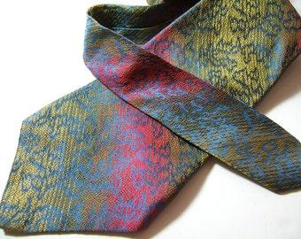 Vintage 1970s Silk Necktie | Pink, Yellow, Blue Rainbow Colored Necktie | Lilly Dache Men's Tie