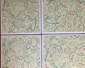 Holly Ceramic Coasters - Set of Four