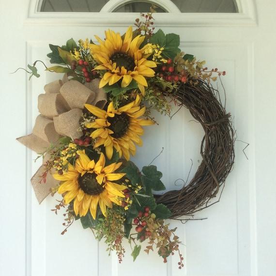 Fall Doorways: Fall Wreath-Wreath For Door-Sunflower Wreath-Autumn