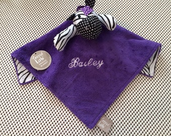 Trend Lab Grape Expectations Zebra Blanket Security Blanket Blanky Lovey - Personalized