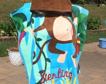 MONKEY Cotton Beach Poncho Towel Personalized