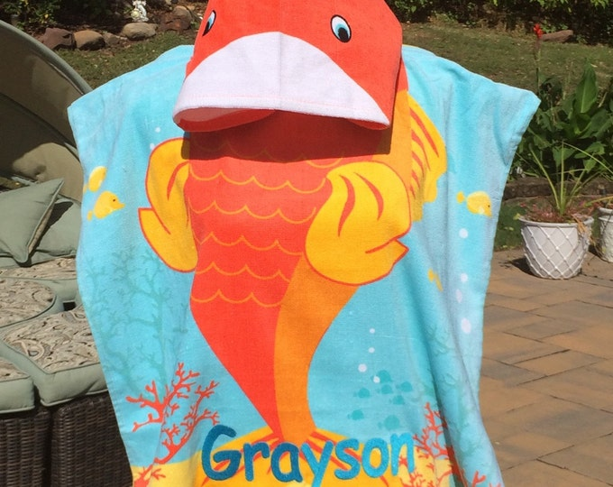 Orange CLOWN FISH Hooded Cotton Beach Poncho Towel Personalized