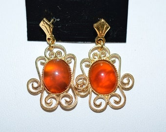 Vintage, Elegant Carnelian Filigree Earrings (1017272)