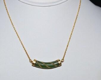 Vintage, Genuine Jade Bar Pendant Necklace (1050040)