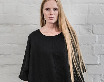 Washed linen KIMONO tunic in deepest black. Oversize linen dress.