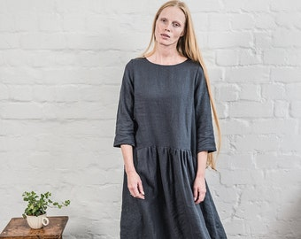 Long sleeved linen dress in charcoal / Washed fall linen dress