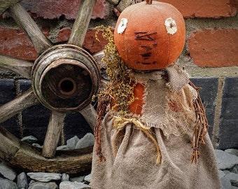 Primitive Folk Art Pumpkin Head Doll in Family Heirloom Weavers Linen Skirt