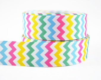 "3 yards of 7/8"" (22mm) Rainbow Chevron Grosgrain Ribbon"