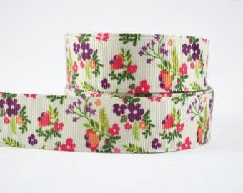 "3 yards of 7/8"" (22mm) Wild Flowers Grosgrain Ribbon"