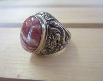 Rhodochrosite Ring, Mens Sterling Silver Ring