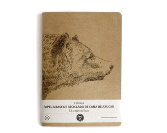 25 moleskine notebook journal  A6 whit bear print in ecological plain paper