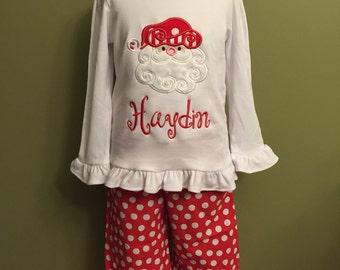 Christmas Outfit, Christmas appliquéd monogrammed shirt and pant set