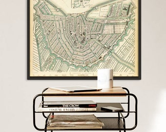 """Map of Amsterdam 1835, Old Amsterdam Map, Blue or Sepia, 3 sizes up to 30x24"""" (75x60 cm) Amsterdam, also in blue - Limited Edition of 100"""