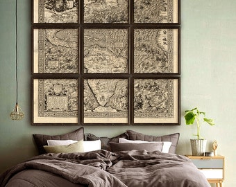 "Map of America 1562, America map, 4 sizes up to 72x72"" (180x180cm) North and South America in 1, 4 or 9 parts - Limited Edition of 100"