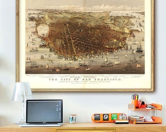 """Vintage map of San Francisco, CA 1878, Old San Francisco map poster in 4 sizes up to 48x36"""" SF map, also in blue - Limited Edition of 100"""