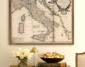 "Old map of Italy 1714, Italy map in 4 sizes up to 45x36"" (110x90cm) Large 18th century map of Italy, map poster - Limited Edition of 100"