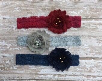 3 Shabby Flower Headbands, Infant Baby Girl Headband, Maroon headband, Gray headband, Navy headband, lace headband, newborn headband