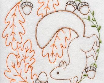 Squirrel Gathering Acorns (Vintage) Embroidered Flour Sack Hand/Dish Towel