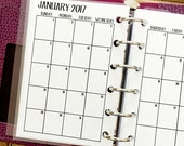 Pocket 2017 Monthly printed planner calendar - Mo2P - month on 2 page - monthly calendar - #302-17