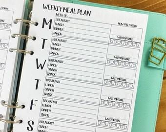 A5 Food Journal printed planner insert - weekly menu - food intake - dietary tracking - diet planner - #128
