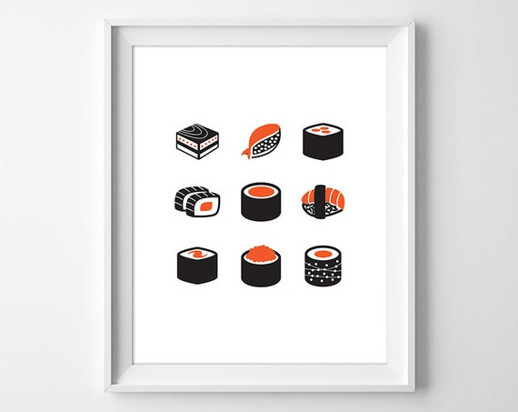 Minimal sushi print modern sushi wall art asian food for Minimal art wall