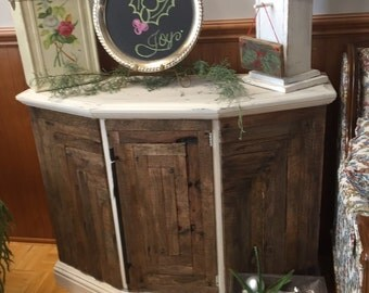 Vintage Console/Entertainment Center w/Reclaimed Wood Front