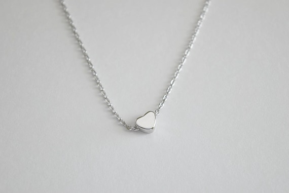 Heart necklace, silver heart charm necklace, bridesmaid gift, gift necklace, S5