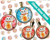 SALE 75% Digital Collage Sheet LUCKY CAT 20mm 18mm 16mm Printable Circles Download for pendants earrings cufflinks rings