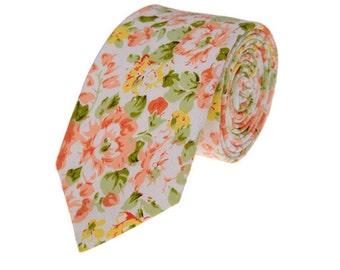 Skinny Ties.Cotton Floral Ties.Suit Accessories.Groomsmen Neckties.Mens Neckties