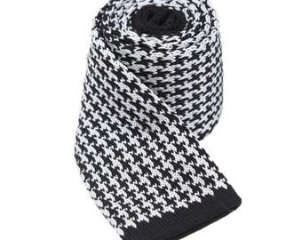 Houndstooth Neckties.Knit Ties.Mens Knitted Neckties,Knit Wedding Ties