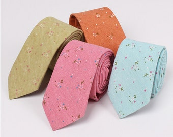 Floral Neckties.Mens Ties.Mens Cotton Neckties.Skinny Ties.Mens Gift