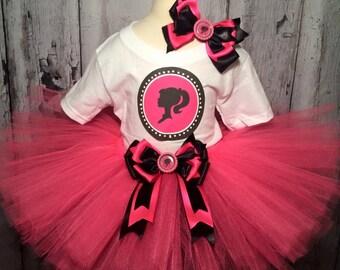 Barbie Birthday Outfit,Barbie Tutu,Barbie Birthday Girl Outfit,Barbie Tutu Outfit,Girls Pink and Black Tutu Outfit,Barbie Birthday Tutu,Gift
